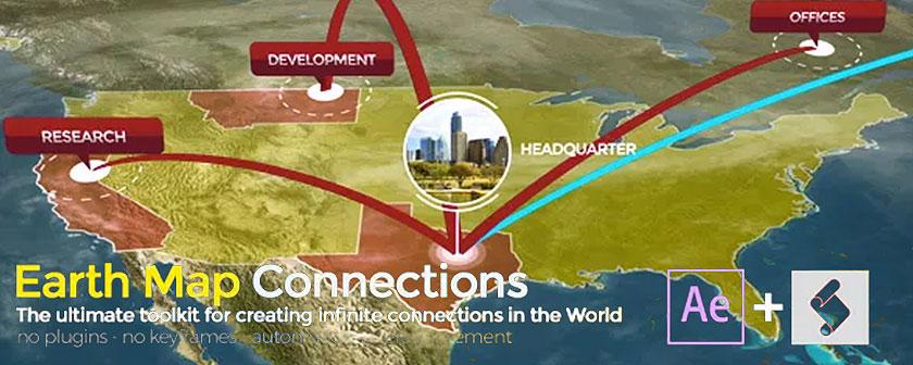 دانلود اسکریپت Earth Map Connections در افتر افکت