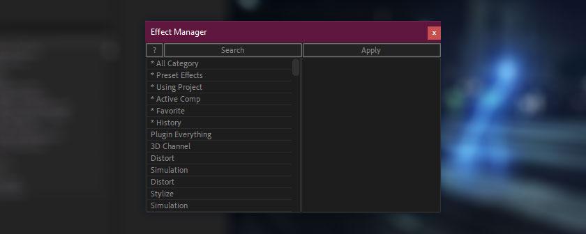 دانلود اسکریپت Effect Manager برای افتر افکت