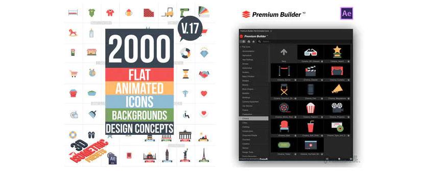 دانلود اسکریپت Flat Animated Icons Library برای افتر افکت