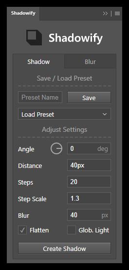 تست کرک پلاگین و اسکریپت Shadowify PS در Photoshop