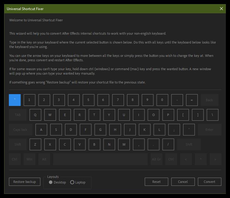تست کرک اسکریپت Universal Shortcut Fixer در افتر افکت